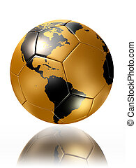 gold soccer ball with world map america. clipping path...