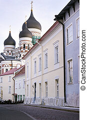 Tallin City Centre - Residential Area with Orthodox Church...
