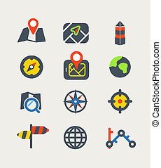 Navigation color web icons collection - Vector icons