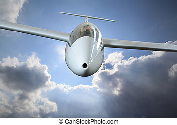 White sailplane flying through rain clouds - White sailplane...