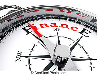 finance conceptual compass on white background