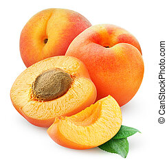 Apricots - Fresh apricots isolated on white
