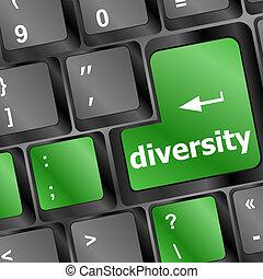 A computer keyboard with blue keys spelling diversity, Learn