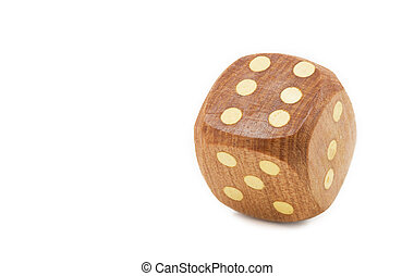 Single wooden dice, isolated on white