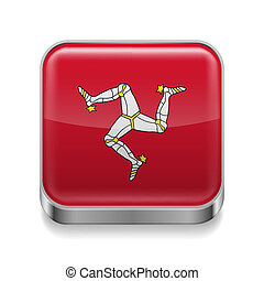 Metal icon of Isle of Man - Metal square icon with flag...
