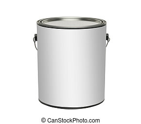 Paint can, isolated - Paint can with blank white label for...