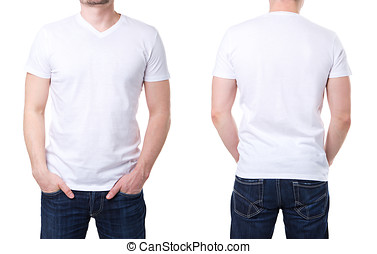 White t shirt on a young man template on white background