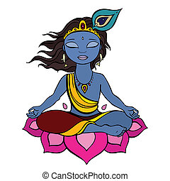 Hindu God Krishna. Vector hand drawn illustration.