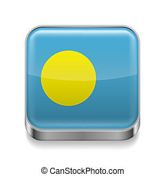 Metal icon of Palau - Metal square icon with flag colors of...