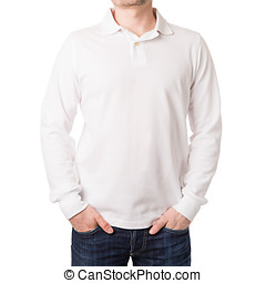 White polo shirt with a long sleeve on a young man on a...