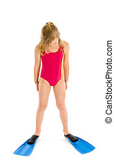 Girl looking at her flippers - A blond girl looking a her...