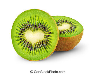 Heart-shaped kiwi fruit isolated on a white
