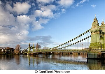 Hammersmith Bridge over the river Thames in London, England,...