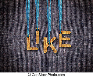 Letters hanging strings - Like Letters hanging strings with...