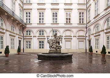Statue of knight St. George - fountain in Primate's...