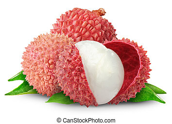 Lychee - Fresh lychees isolated on white
