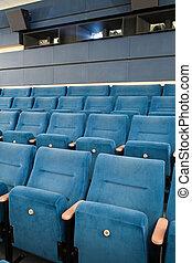 Cinema interior - Close-up of empty cinema auditorium with...