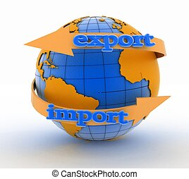 Import and export arrow around earth for business. Direction...