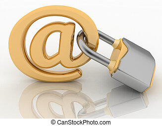 E-mail symbol with lock Internet security concept