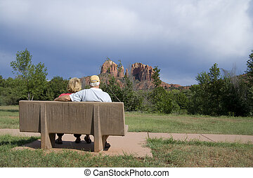 Retired in Arizona - A senior couple enjoying the view of...