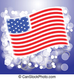 American flag - colorful illustration with American flag for...