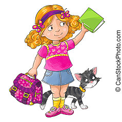 Schoolgirl - smiley schoolgirl standing with a bag and book....