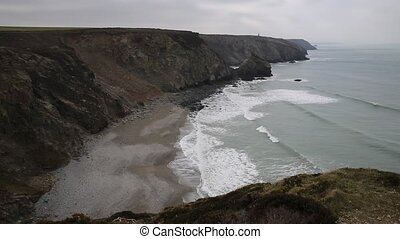 Beach around headland at Portreath - View of Portreath North...