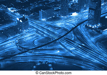 Transport road junction. - Night Panorama of Dubai....