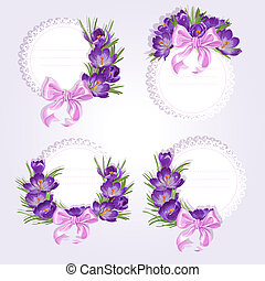 Labels with purple crocus flowers for your labels on a light...