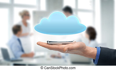 hand holding smartphone with cloud - technology, internet...