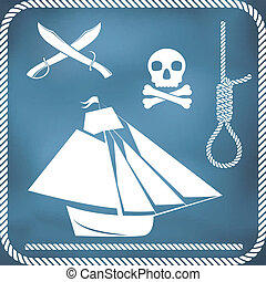 Pirate icons - sloop, cutlass, hangman's knot and Jolly...