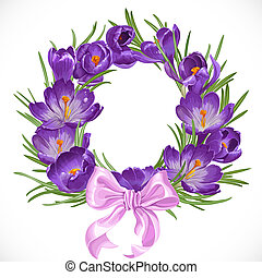 Wreath of purple spring crocus with beautiful pink ribbon bow