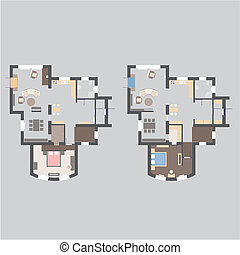 House Plan - Floor plan of an apartment house with furniture