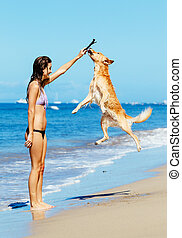 Woman Playiing with Dog Jumping into the Air - Young Woman...