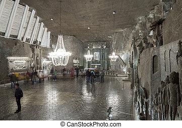 cámara, sal, mina, Wieliczka, Polonia