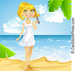 Cute blond girl in a white dress with sunglasses comes before barefoot on beach
