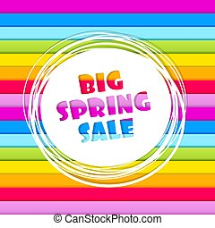 Spring sale abstract banner on horizontal rainbow colored stripes