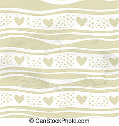 Seamless grungy vintage pattern with waves and hearts