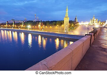 Kremlin - night view of Kremlin and Cathedral of St Basil in...