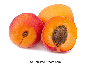 fresh apricots isolated on white background - apricot on...