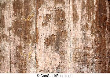 Old brown wooden door as antique background closeup