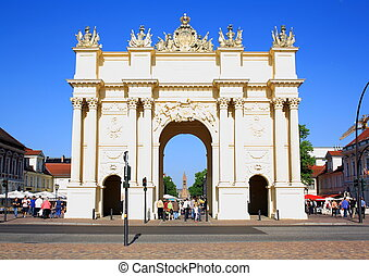 Memorial, Brandenburg Gate in Potsdam, horizontal