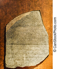 Replica of Rosetta Stone in Greek, Egyptian and demotic...