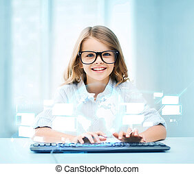 student girl with keyboard and virtual screen - education,...