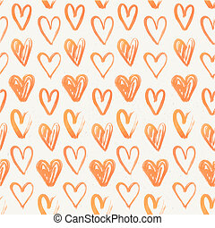 Seamless pattern of hand-painted red hearts on a grungy background