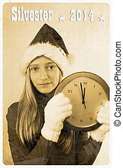Retro postcard with girl in santa claus hat and clock,...