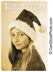 Retro postcard with girl in santa claus hat, vertical