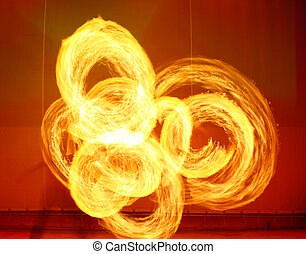 A fire show performed on stage in a beach resort
