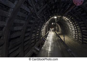Coal mine machinery: belt conveyor in underground tunnel