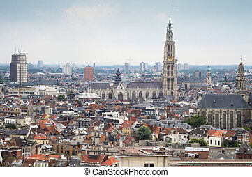 Antwerp Skyline - Historic Antwerp Skyline taken from above